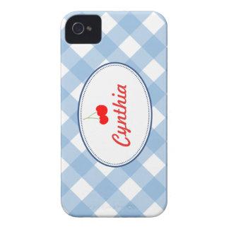 Costume vermelho da cereja do teste padrão azul do capas de iPhone 4 Case-Mate