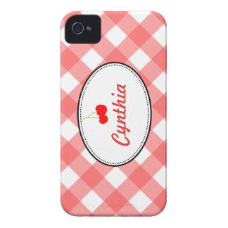 Costume vermelho da cereja doce do teste padrão do capa iPhone 4