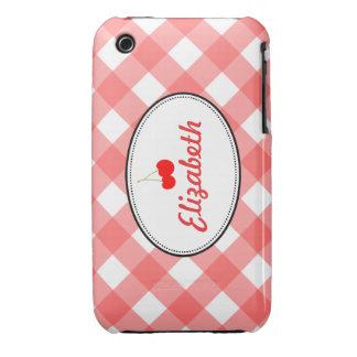 Costume vermelho da cereja doce do teste padrão do iPhone 3 capa