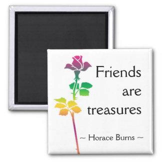 Cotação da amizade - citações inspiradores ímã quadrado