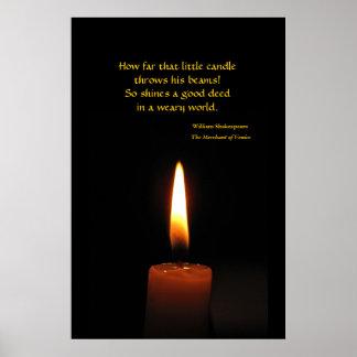 Cotação da chama de vela de Shakespeare Pôster