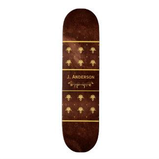 Couro Brown do livro do vintage e cor damasco do o Shape De Skate 19,7cm