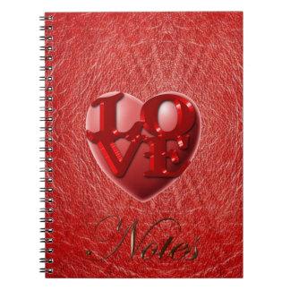 Couro do falso & caderno vermelhos do coração do
