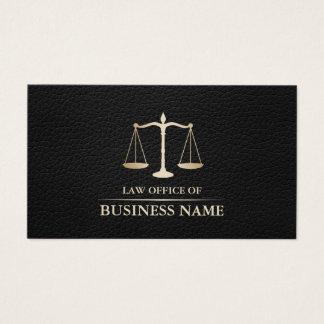 Couro preto elegante da escala do ouro do advogado cartão de visitas