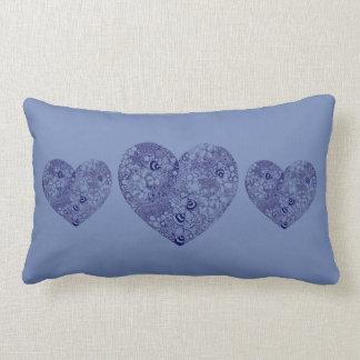 Coxim azul do coração do amor almofada lombar