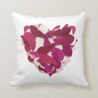 Coxim cor-de-rosa do coração da borboleta almofada