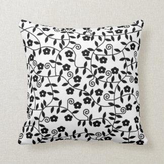 Coxim floral preto & branco travesseiros de decoração