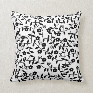 Coxim floral preto & branco travesseiro de decoração