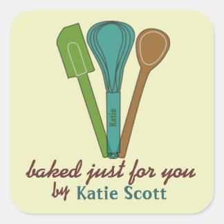 Cozido para você por etiquetas de Katie Adesivo Em Forma Quadrada