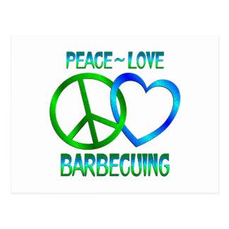 COZIMENTO NA GRELHA do amor da paz Cartão Postal