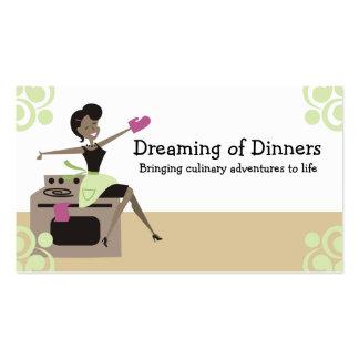 Cozimento retro do cozinhar da dona de casa do cartão de visita