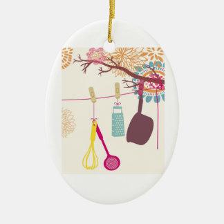 cozinha de tuscan - utensílios em floral. ornamento de cerâmica oval