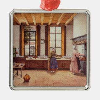 Cozinha do hotel de Zwijnshoofd em Arnhem, 1838 Ornamento Quadrado Cor Prata