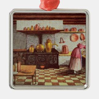 Cozinha do hotel St.Lucas Ornamento Quadrado Cor Prata