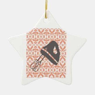 cozinha do país - entregue o misturador no damasco ornamento de cerâmica estrela