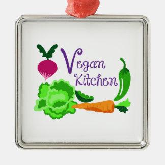 Cozinha do Vegan Ornamento Quadrado Cor Prata