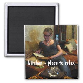 cozinha - lugar a relaxar… ímã quadrado