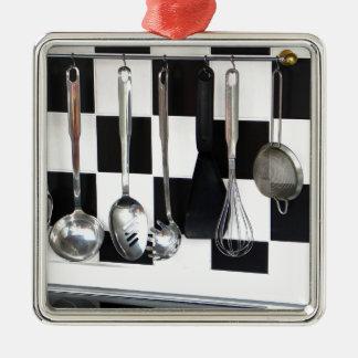 Cozinha Ornamento Quadrado Cor Prata