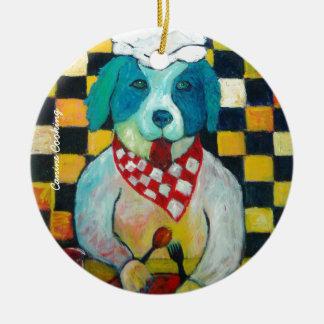 Cozinhar canino ornamento de cerâmica redondo