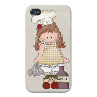 Cozinheiro chefe adorável da boneca de pano do capa iPhone 4