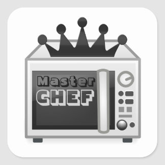 Cozinheiro chefe mestre da microonda adesivo quadrado