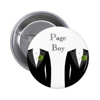 Crachá alegre do menino da página do casamento do bóton redondo 5.08cm