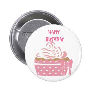 Crachá cor-de-rosa do aniversário do cupcake bóton redondo 5.08cm