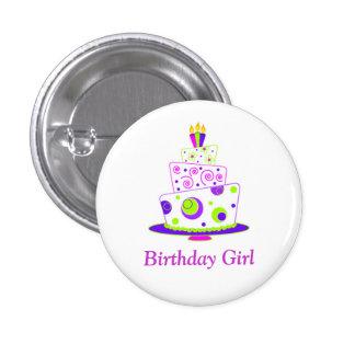 Crachá da menina do aniversário bóton redondo 2.54cm