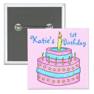 Crachá do botão do aniversário do bolo de bóton quadrado 5.08cm