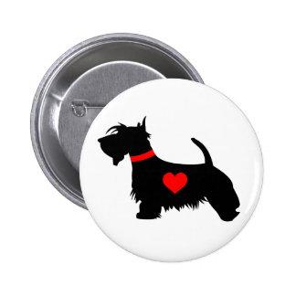 Crachá do botão do coração do cão do Scottie Bóton Redondo 5.08cm