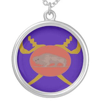 Crachá do soldado do búfalo colar com pendente redondo