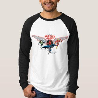 Crachá e heróis do ar do vôo da liga de justiça tshirt