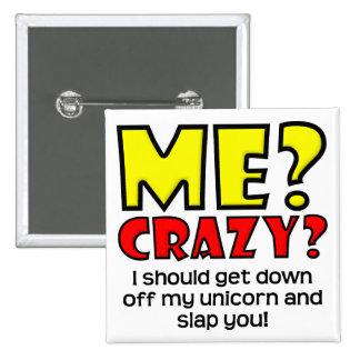 Crachá engraçado louco do botão do unicórnio bóton quadrado 5.08cm