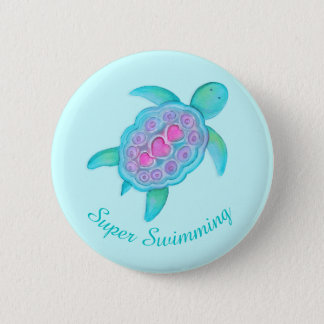 Crachá super do botão da natação da tartaruga bóton redondo 5.08cm