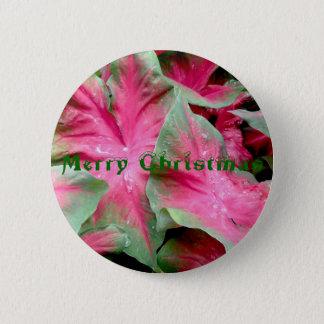 Crachá verde vermelho do Feliz Natal do Caladium Bóton Redondo 5.08cm