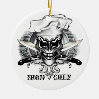 Crânio 1 do cozinheiro chefe ornamento de cerâmica redondo