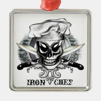 Crânio 4 do cozinheiro chefe: Cozinheiro chefe do Ornamento Quadrado Cor Prata