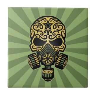 Crânio apocalíptico do açúcar do cargo verde azulejo de cerâmica