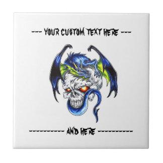 Crânio azul do dragão do símbolo legal do tatuagem azulejo quadrado pequeno