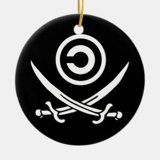 Crânio & bandeira de Anti-Copyright Copyleft dos C Enfeites