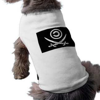Crânio & bandeira de Anti-Copyright Copyleft dos Camisa Sem Mangas Para Cachorro