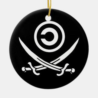Crânio & bandeira de Anti-Copyright Copyleft dos Ornamento De Cerâmica Redondo