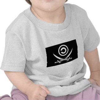 Crânio & bandeira de Anti-Copyright Copyleft dos Camisetas
