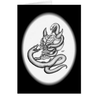 Crânio - cabeça do diabo com cobra cartão comemorativo