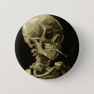 Crânio com o cigarro por Van Gogh Bóton Redondo 5.08cm