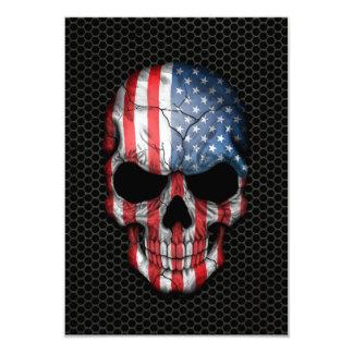 Crânio da bandeira americana no gráfico de aço da convite 8.89 x 12.7cm