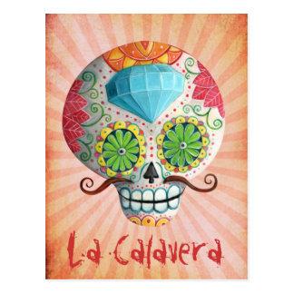 Crânio de Diâmetro de Los Muertos Açúcar com Cartão Postal