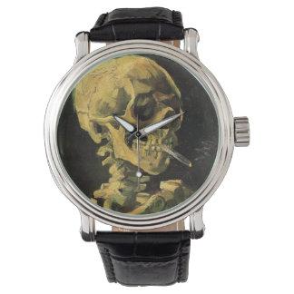 Crânio de Van Gogh com cigarro ardente, arte do Relógio