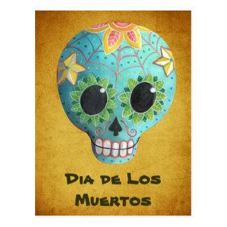 Crânio do açúcar de Azul Diâmetro de Los Muertos Cartão Postal