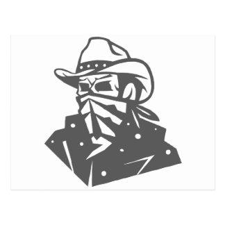 Crânio do vaqueiro com Bandana e chapéu Cartão Postal